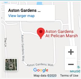 Google map of aston gardens pelican marsh