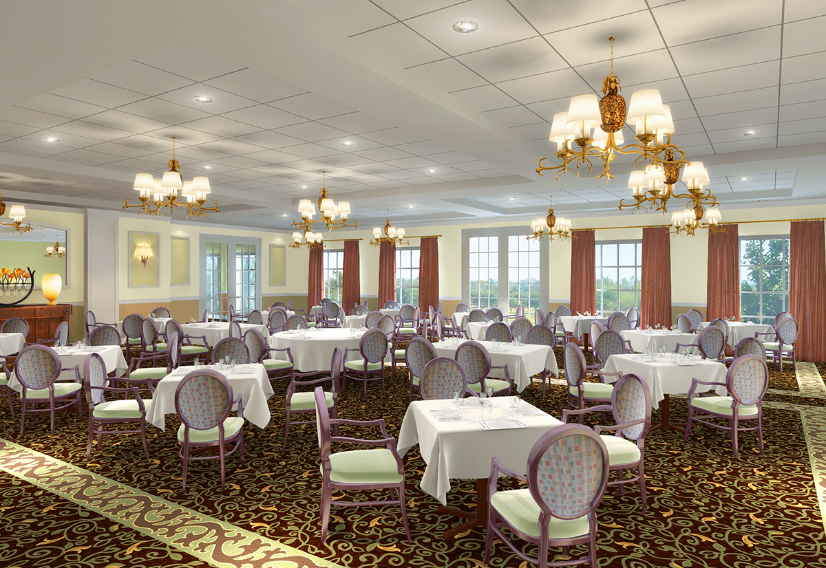 rendering of aston gardens courtyards dining room