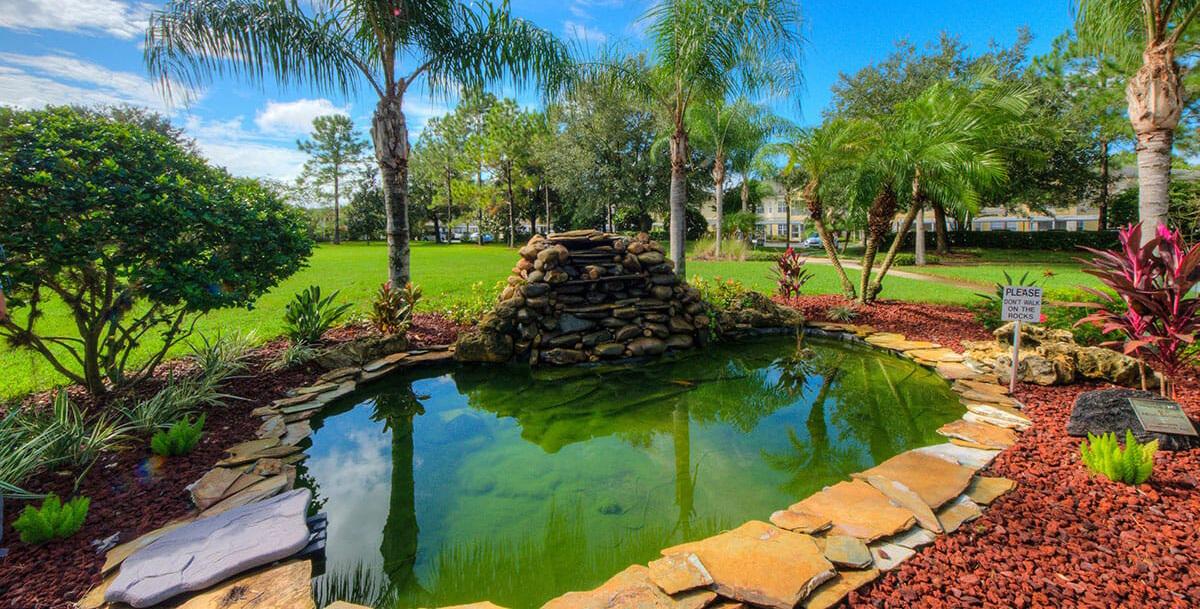 decorative pond at aston gardens