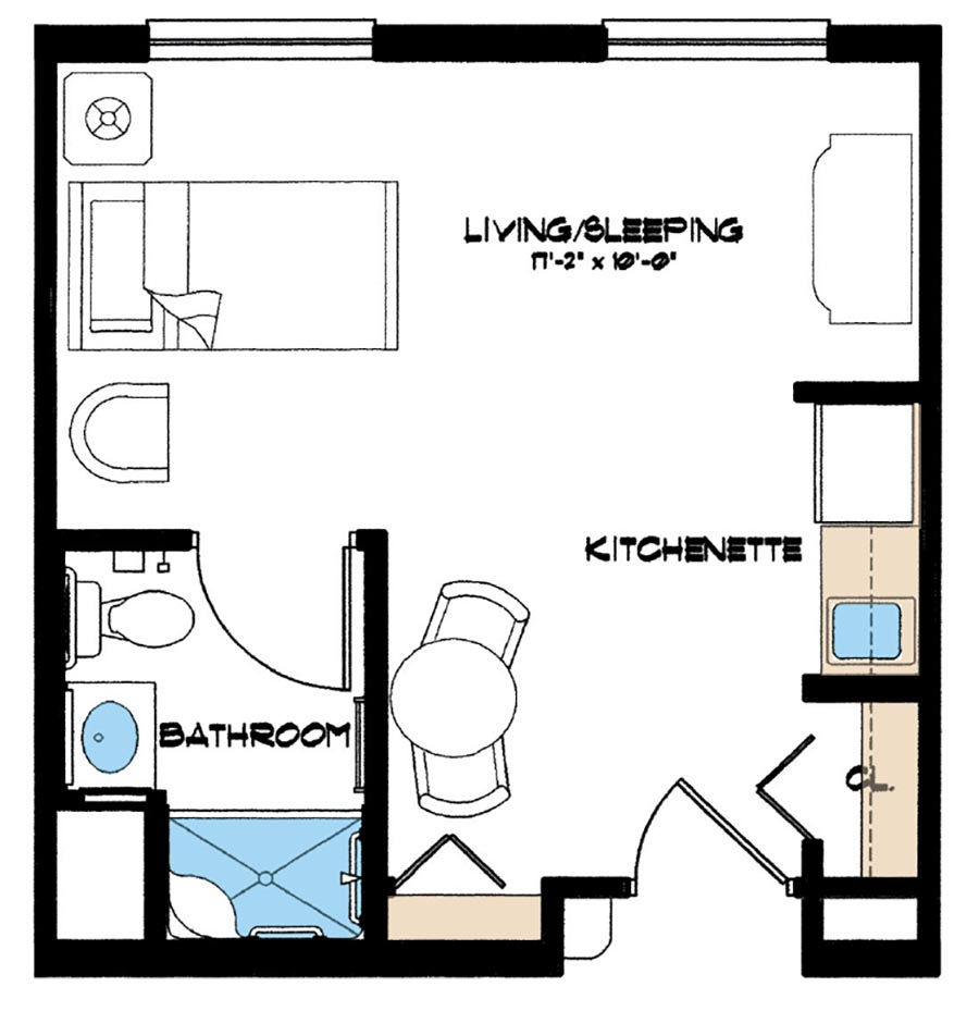 Aston Gardens At Pelican Marsh Assisted Living 1 bedroom floor plan